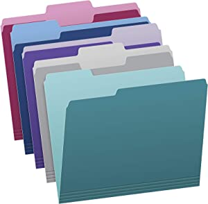 Pendaflex Two Tone Color File Folders, Letter Size, Assorted Colors (Teal, Violet, Gray, Navy and Burgundy), 1/3-Cut Tabs, 5 Color, 100/Box, (02315)