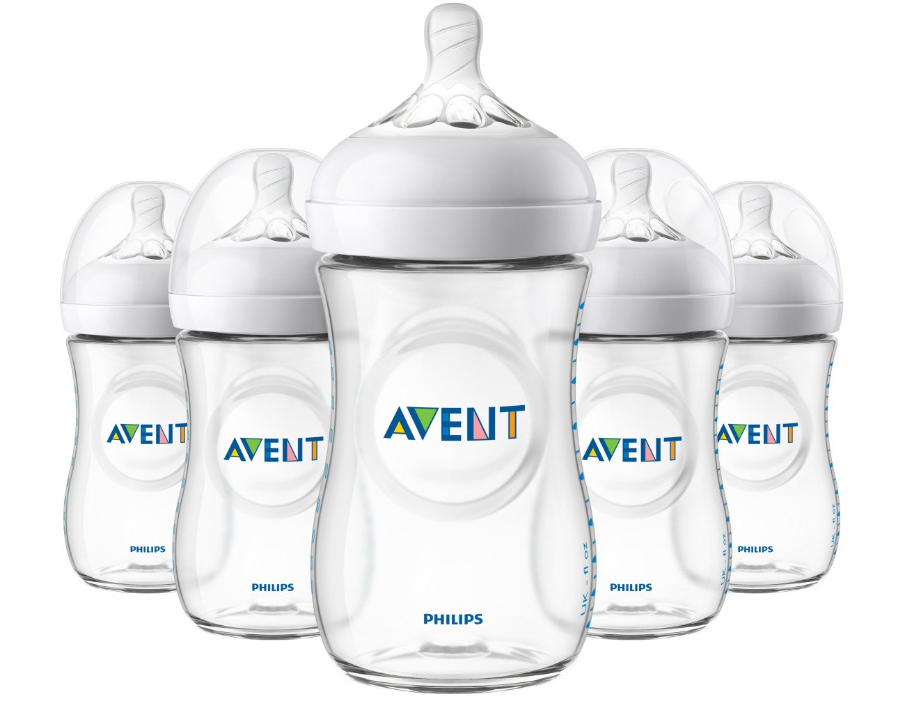 Philips Avent Natural Baby Bottle, Clear, 9oz, 5pk, SCF013/57 075020068422