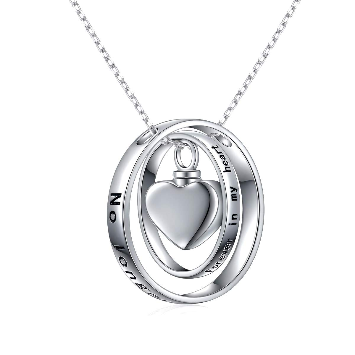 Cremation Jewelry Sterling Silver Always in My Heart Urn Necklace Ashes Keepsake Pendant Necklace, 20'' (no Longer by My Side Forever in My Heart 20'')