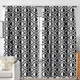 NUOMANAN Curtains for Living Room Black and White,Lattice Pattern with Geometric Circles