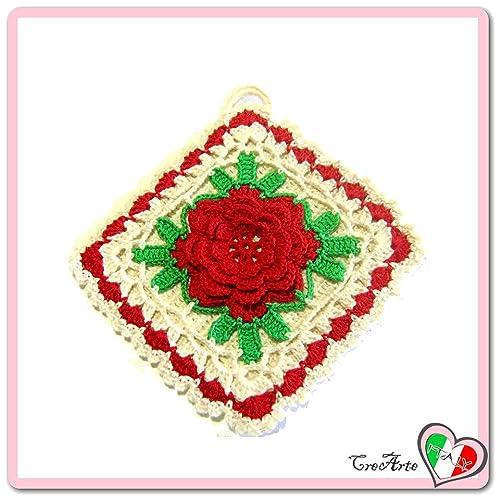 Quadratisch häkeln Topflappen mit roter Blume aus Baumwolle - Größe ...
