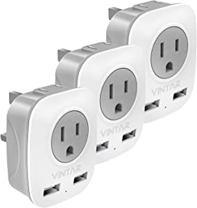 [3-Pack] UK Ireland Travel Plug Adapter, VINTAR International Power Adaptor with 2 USB, 4 in 1 Outlet Adaptor for USA to British England Scotland Irish London Hong Kong (Type G)