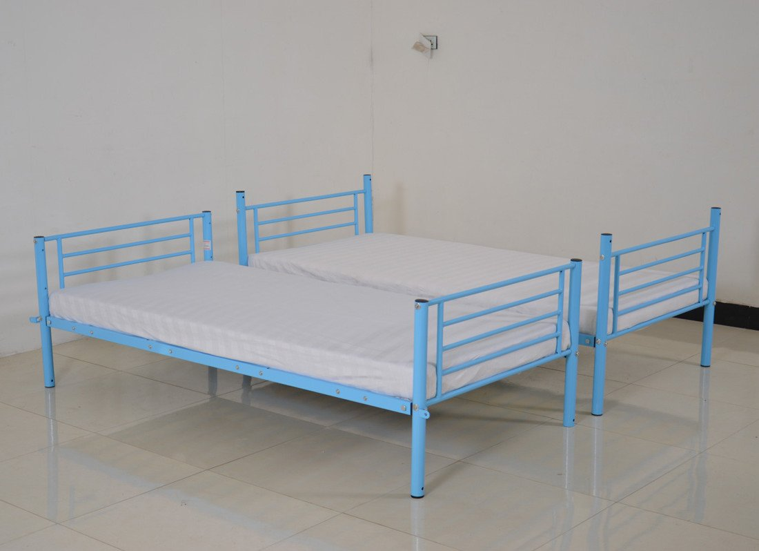 Metal bunk bed frame unit 2 separate single space saving guest beds blue new 3ft ebay - Space saving guest beds ...