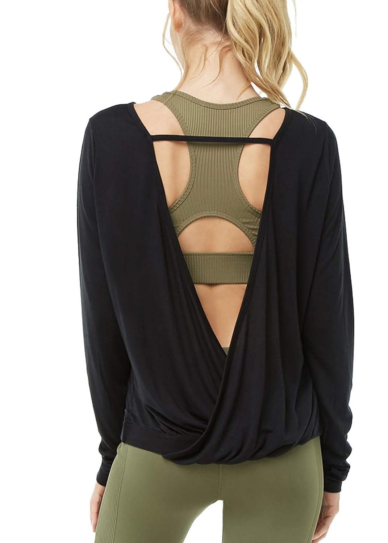 Muzniuer Womens Long Sleeve Workout Shirts-Long Sleeve Shirts for Women Yoga Sports Running Shirt Workout Top