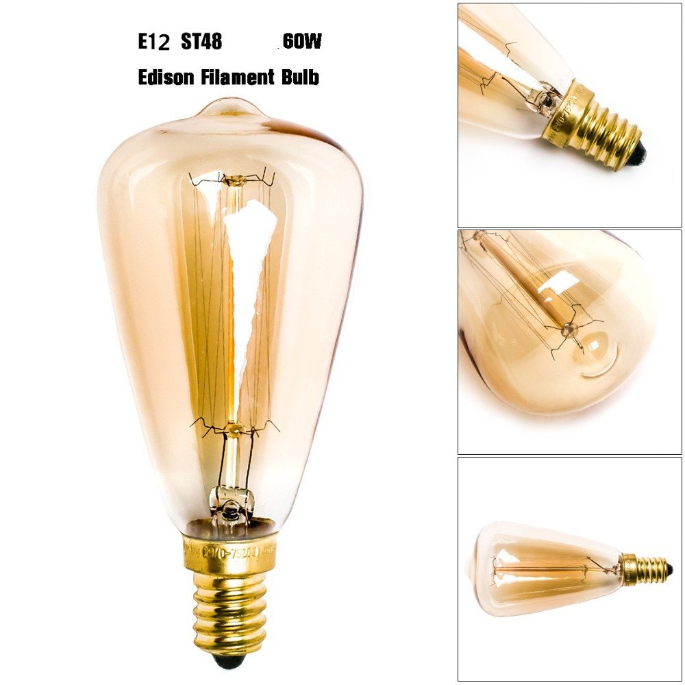 Vintage Edison Light Bulbs (E12 Base 60W 2300K),Warm White Nostalgic Tungsten Filament Candelabra Base Incandescent Lamp Squirrel Cage Style Bulbs for Home Light Fixtures Decorative, Dimmable,6-pack