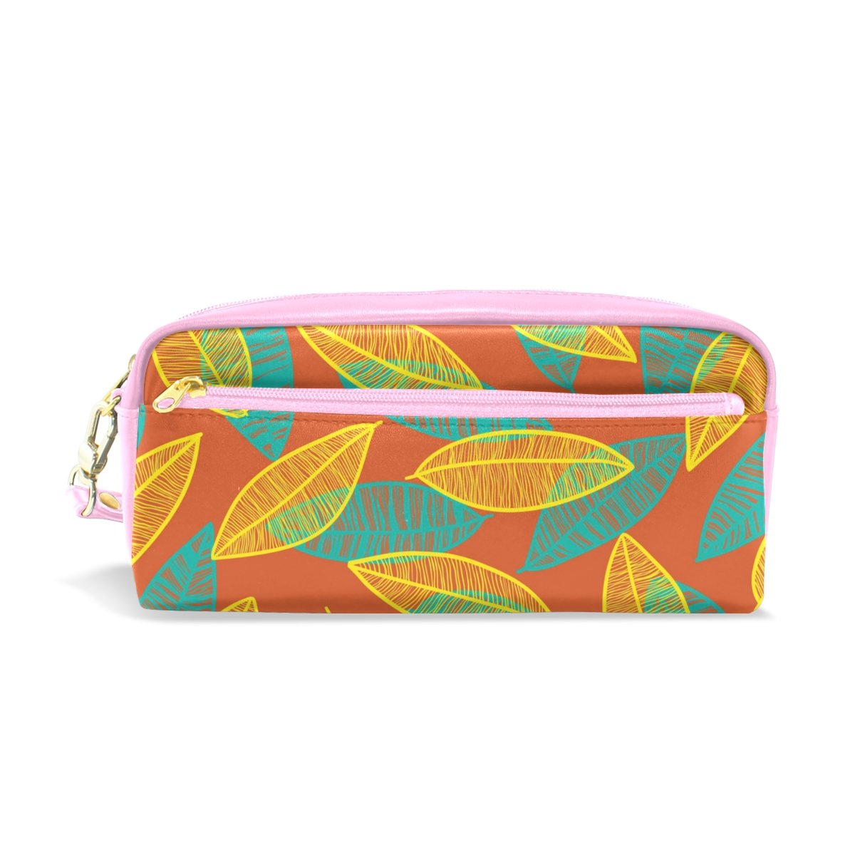 My Little Nest Hand Drawn Floral Leaves Cosmetic Makeup Bag Pencil Case Multi Function School Office Organizer Bag with Zipper Closure