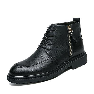 6eeeb720e1 MSKAY MEN SHOES Men's Antique Leather Ankle Boots Lace-up Shoes ...
