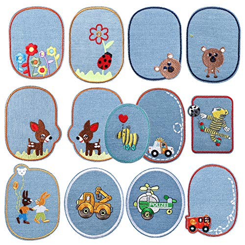 Soleebee 13 Pcs Mixed Patches Embroidered Iron-on or Sew-on Patch Accessories Applique for Jackets Jeans (Cartoon Animal)