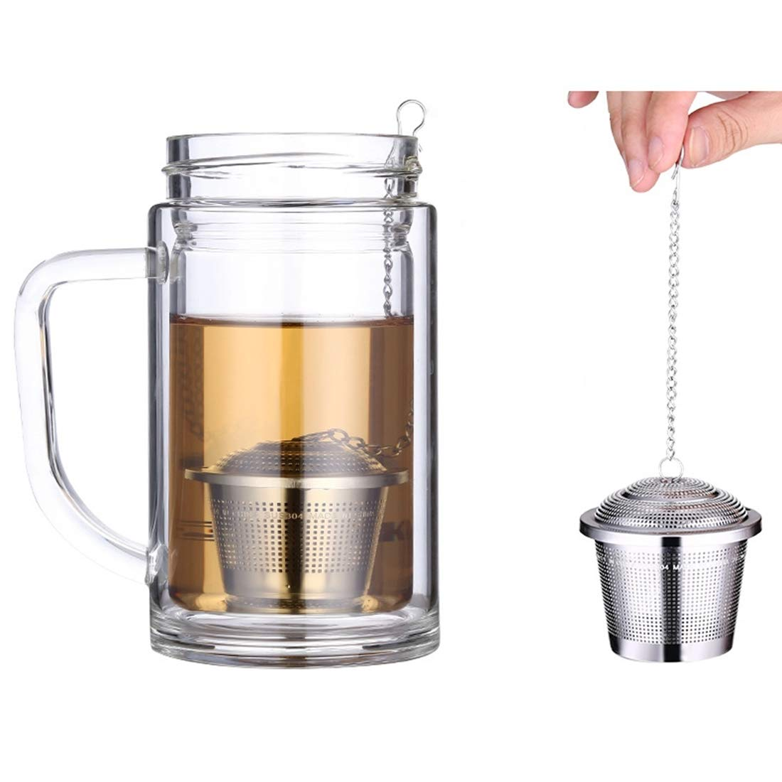DSLSM Enceinte Sizing: 8 x 8cm, Stainless Steel Locking Spice Tea Strainer Mesh Infuser Tea Ball Filter by DSLSM