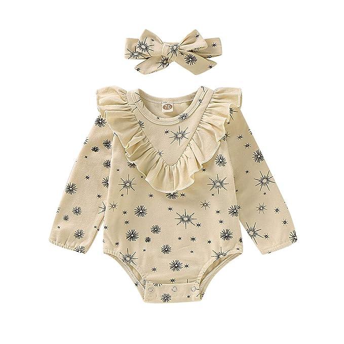 Amazon.com: PigMaMa 2 piezas bebé niña volantes manga larga ...