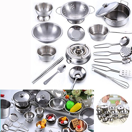 GZQ Cookware Set, 18Pcs Stainless Steel Kitchenware Cookware Kitchen Utensils Children Kids Simulation Cooking Games Playset Cookware Set (Barn Pottery Singapore)