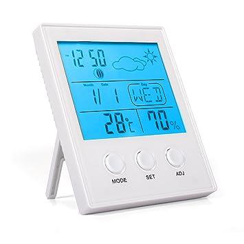 punson interior termómetro higrómetro digital medidor de temperatura humedad Monitor, con soporte y gran pantalla