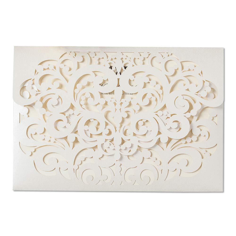 Amazon Com Jofanza 100x Ivory Laser Cut Wedding Invitations