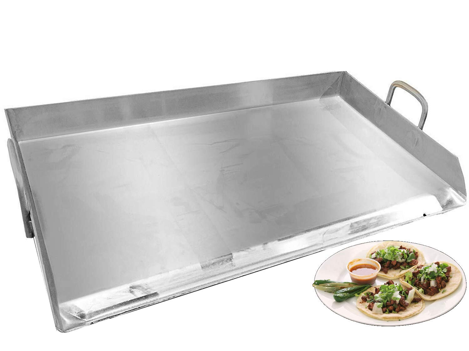 Professional Restaurant Style Stainless Steel Rectangular Griddle Pan Comal Plancha Flat Top For Tailgating,Parties,BBQ Grills Outdoor Cooking-32'' x 17''