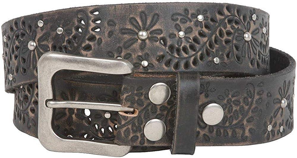 BBBelts Women 1-1//2 Black Full Grain Cowhide Hollow Flowers Snap On Buckle Belt