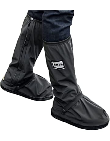 1dc5a0eca8 USHTH Black Waterproof Rain Boot Shoe Cover with reflector (1 Pair) (Black-