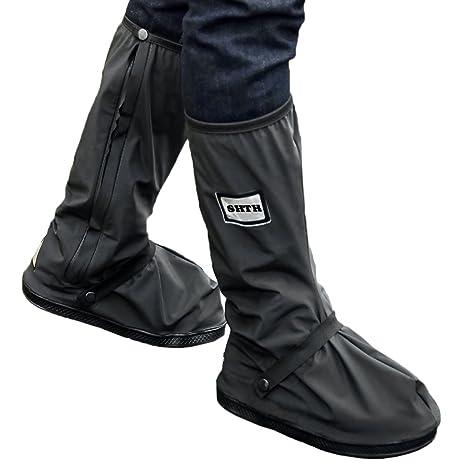 ea38082da4c12 USHTH Black Waterproof Rain Boot Shoe Cover with reflector (1 Pair)  (Black-XL(12.6inch))