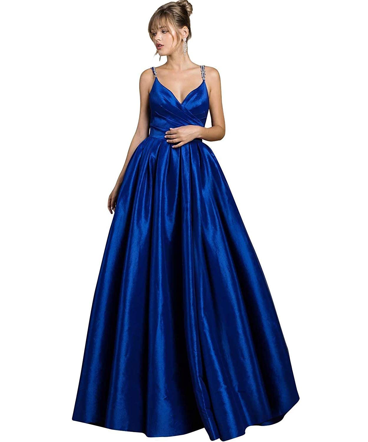 Royal bluee Yilis Women's Beaded Spaghetti Straps V Neck Satin Aline Evening Prom Dress Long Formal Gown with Pockets