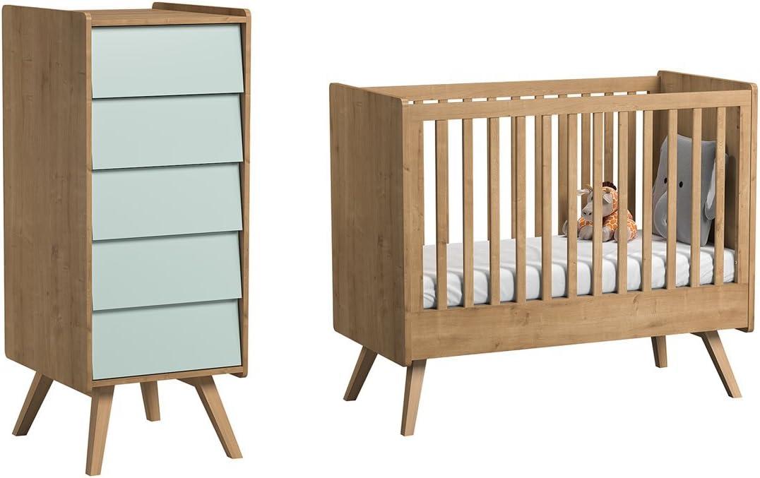 Cuna 60 x 120 y cómoda (Vox Vintage – madera verde: Amazon.es: Bebé