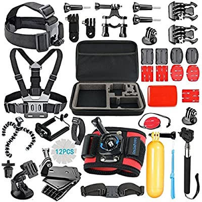 SmilePowo 42-in-1 Accessory Kit for GoPro Hero5 Black, Hero5 Session, Hero 4 Silver Black, Hero Session, Accessory Bundle Set for GoPro Hero3+ 3 2 1, SJ Cam Xiaomi