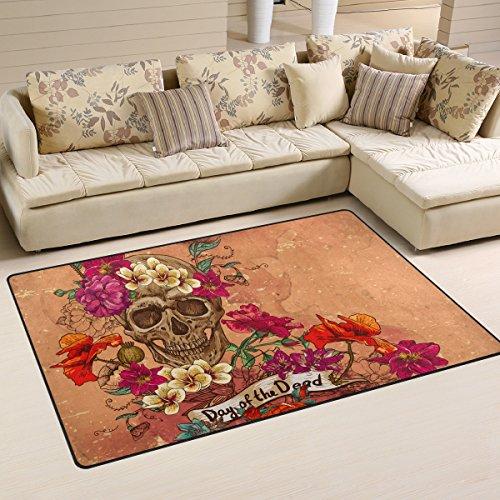 [Sugar Skull Dia De Los Muertos Area Rug Carpet Floor Mat For Dining Room Living Room Bedroom,Size 2'7