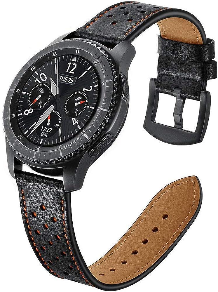 Correa de cuero compatible con Galaxy Watch de 46 mm con hebilla de acero inoxidable para reloj inteligente Gear S3