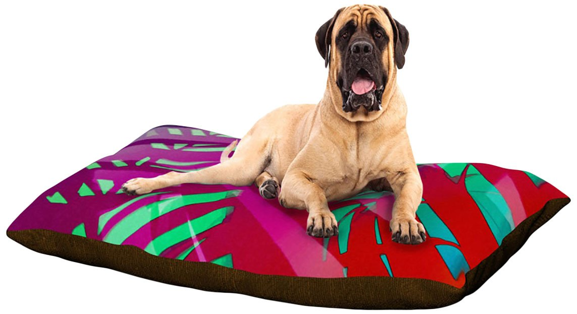 Hot Tropical XLarge 40  x 50 Kess InHouse Alison Coxon Hot Tropical  Pink Red Dog Bed
