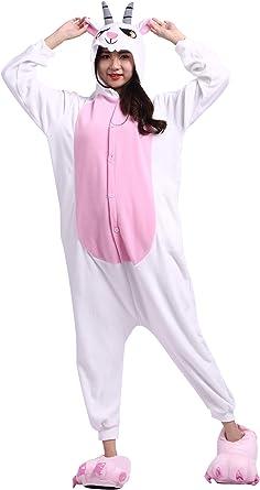 Pijama Animados Kigurumi Cosplay Cabra Animal para Adulto Unisex