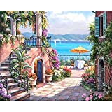 DIY Oil Painting, Paint by Number Kit for Home Wall Decor Art Gift, Mediterranean Spring Day