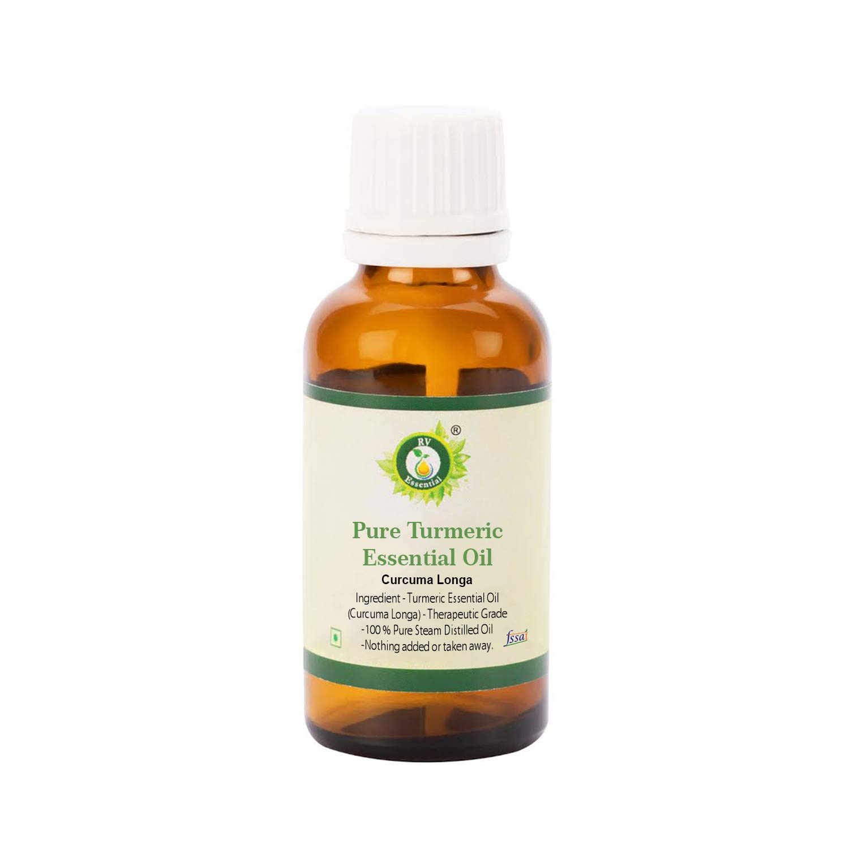 R V Essential Pure Turmeric Essential Oil 30ml (1.01oz)- Curcuma Longa (100% Pure and Natural Therapeutic Grade)