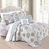 Home Soft Things Serenta 6 Piece Marina MDLN Printed Microfiber Quilts Coverlet Set, Oversize King, Cameo Blue