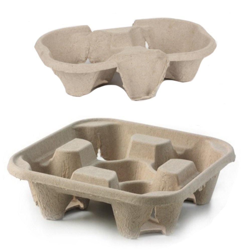 Disposable 2 Cup Paper Coffee Cup Holder Tray