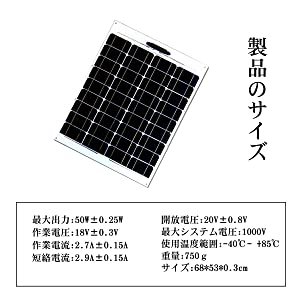 50W  asknut セミフレキシブル ソーラーパネル