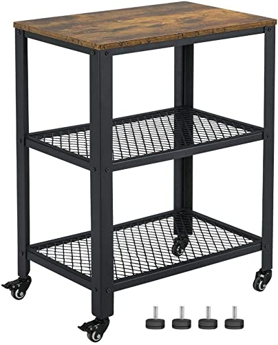 Yaheetech Industrial Nightstand for Bedroom, Bed Side End Table with 2 Storage Mesh Shelves, Easy Assembly, Rustic Brown
