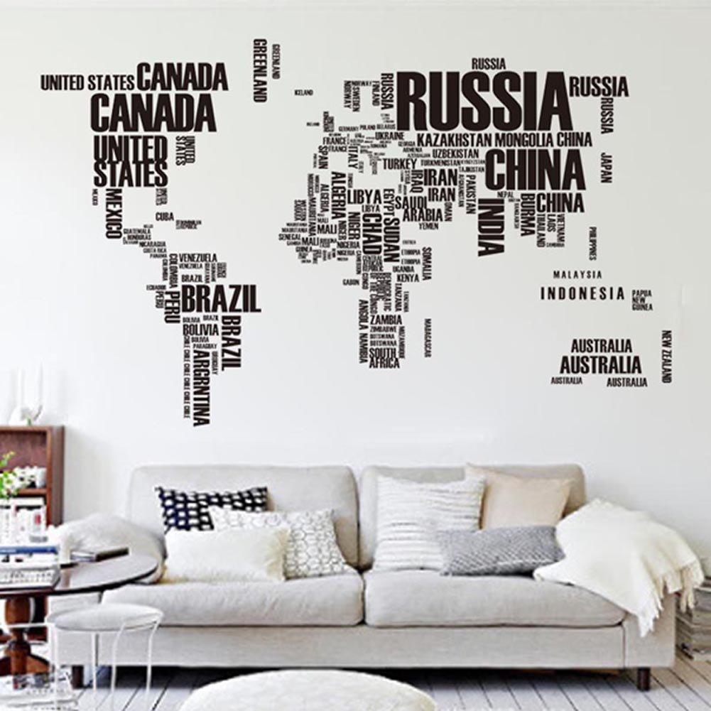 Malerisch Wandtattoo Weltkarte Ideen Von Briefe Welt Karte Abnehmbare Vinyl Abziehbild Kunst