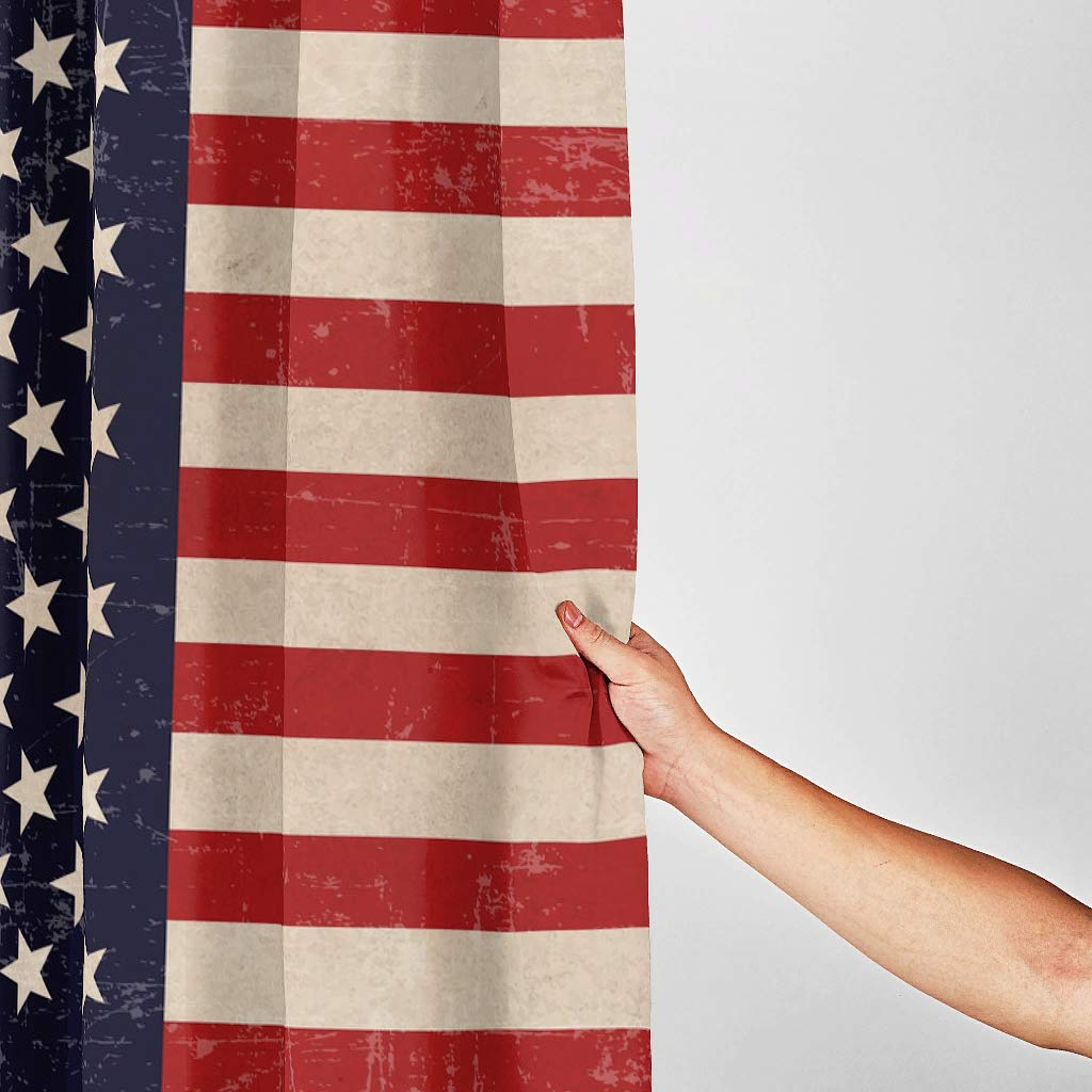 Impermeabile 120 x 200 cm 150 x 200 cm con Anelli Inclusi Poliestere Tenda per Doccia Bianco LAOAYI Motivo Bandiera America