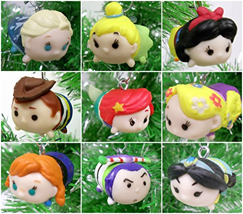 Tsum Tsum 9 Piece Christmas Tree Ornaments Featuring Beloved Characters from Toy Story, Frozen, Peter Pan, Little Mermaid and More