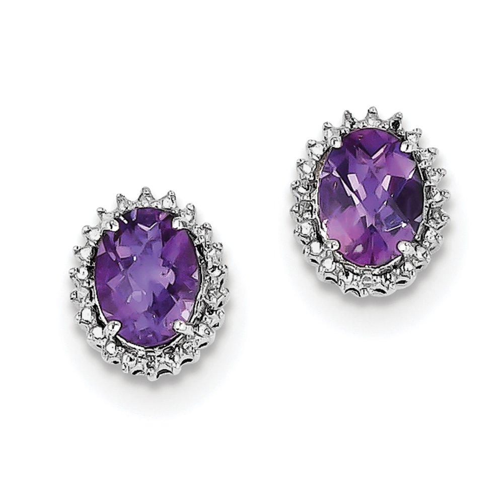 ICE CARATS 925 Sterling Silver Purple Amethyst Diamond Post Stud Ball Button Earrings Fine Jewelry Gift Set For Women Heart
