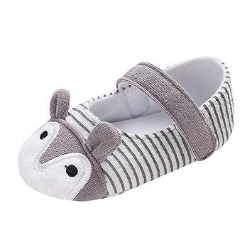 117882ec7d5d7f Amazon.com  Cute Cartoon Animals Ear Crib Shoes Infant Newborn Baby Girls  Soft Sole Cotton Single Shoes Toddler Prewalker (Age 12~18 M