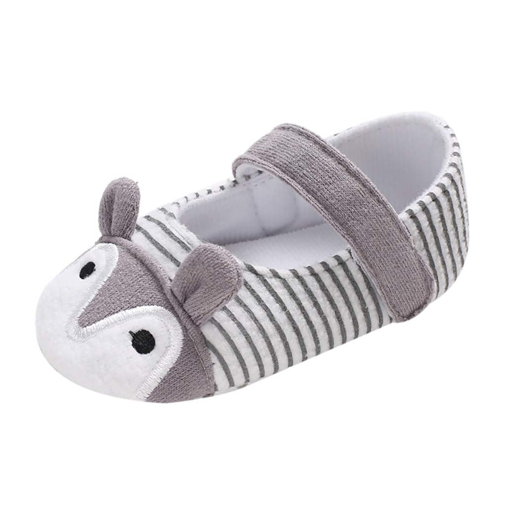 NUWFOR Infant Newborn Baby Girls Prewalker Cartoon Animal Ears Soft Sole Single Shoes(Gray,0~6 Month)