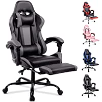 ALFORDSON Gaming Chair Racing Chair Executive Sport Office Chair with Footrest PU Leather Armrest Headrest Home Chair Grey