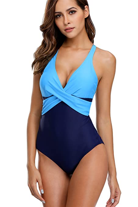 1e42fbd62ad anfilia Women's Swimming Suit Tummy Control Monokini Criss Cross Navy Small