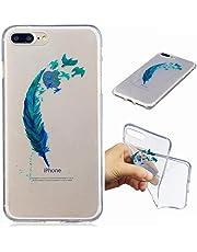Funda iPhone 7PLUS silicona transparente Ultra-fino TPU suave Carcasa Bumper DECHYI Patrón arte-piuma Blu