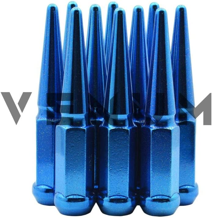 Powder Coated Venum wheel accessories 32 Pc 14x2.0 Candy Blue Metallic Sparkle Spike Lug Nuts 4.5 Tall Compatible with Ford 1999-2002 F-250 F-350 8x170 MM Bolt Pattern
