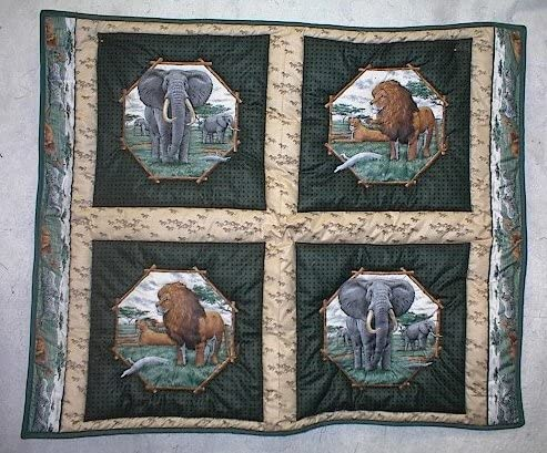 Lions and Elephants Safari Baby Quilt