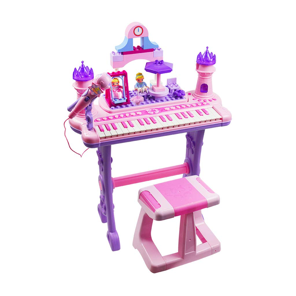 TLMYDD Beginners Big Piano Keys Children's Building Blocks Electronic Piano and Microphone Toys Kids Keyboard Piano (Color : Pink)