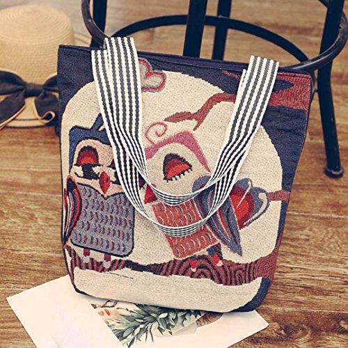 Saingace Frauen Leinwand Cartoon Owl Print Handtasche Schulter Messenger Bag Satchel Tote Bags H