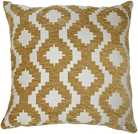 McAlister Textiles Arizona Ochre Yellow 17 Inches Filled Pillow, Tribal Abstract Chenille Room Decor Throw Couch Cushion Cover for Bedroom Sofa Living Room Sham Size, 43cm