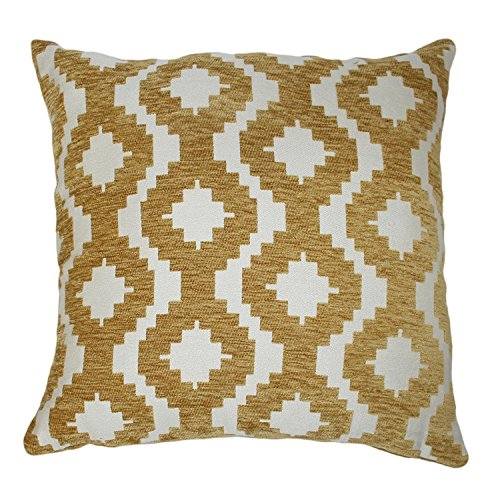 McAlister Textiles Arizona Filled Pillow Ochre Yellow Chevron Tribal Abstract Designer Made Throw Couch Cushion for Bedroom Sofa Living Room Accessory – 16 x 16 Inches