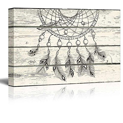 (Wall26 - Dream Catcher Hanging Down on a Wooden Background - Canvas Art Home Decor - 24x36 inches)